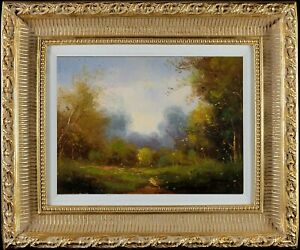 Gold Framed Oil Painting on Canvas, Impressionism Landscape, Elegant Scenery