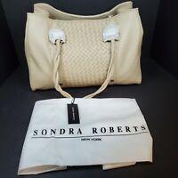BRAND NEW Sondra Roberts New York Tan (Bone) 100% Leather Tote Purse