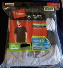 5-Pack Hanes Men's FreshIQ  T-Shirt - BLACK /GREY  -  SIZE  XL