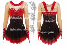 Ice Figure Skating Dress/Dance/Baton Twirling costume Outfit Custom red black