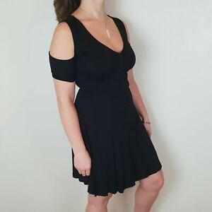 ASOS Size 6 8 10 Black Button Down V Neck Cold Shoulder Fit and Flare Tea Dress