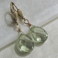 Prasiolith grüne Amethyst Tropfen Ohrringe Brisur Ohrhänger Gold 585 14K GF/ygf
