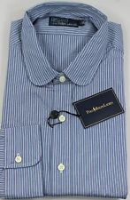 Polo Ralph Lauren Dress Shirt Mens 15.5 39 Blue Gray Navy Pony Stripe MSRP $165