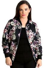 Womens Bomber Jacket Plus Size Ladies Floral Print Rib Jungle Style Quality Black 26-28