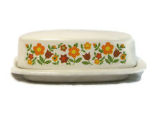 Vtg Retro McCoy Heavy Pottery Covered Butter Dish White Floral Daisy Chain 7013