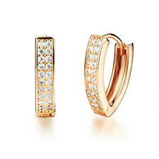Wedding V-shaped Two Rows CZ Yellow Gold GP Huggie Lever back Earrings Gift