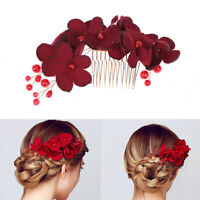 1Pc Bridal wedding bridesmaid red flower hair comb clip hairpin accessories JC