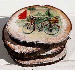Rustic Wood Table Decor Natural Log Coaster Animal print Placemat Christmas Gift