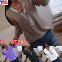 US Women's V Neck Long Sleeve Casual Loose Summer Tunic Tops T Shirt Blouse Plus