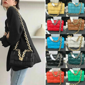 Padded Woven Microfiber Leather Metal Chain Shoulder Bag Crossbody Clutch Purse
