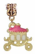 Princess Carriage Pink Enamel Gold Plated Dangle Charm for European Bracelets