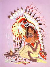 PAINTINGS NATIVE AMERICAN INDIAN SHAMAN FIRE FEATHER SPIRIT POSTER PRINT LV3280