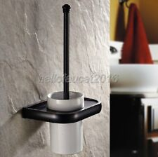 Black Oil Brass Wall Mount Toilet Brush Holder Set Bathroom Cleaning Accessories