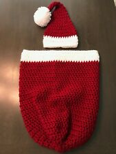 Christmas Crocheted Baby Cocoon & Hat Blanket Photo Prop Bunting Newborn/3-Mo