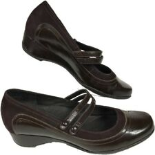 Clarks Artisan Collection Brown Patent Leather Wedge With Strap 8.5 M