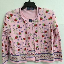 Mountain Lake Womens Twinset Pink Floral Strawberry Tank Cardigan Knit Top S/M