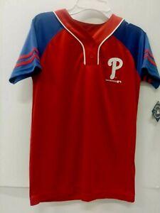 MLB Philadelphia Phillies Girls' Short Sleeve Jersey, Blue/Red, Size 10/12 Large