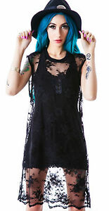 LIP SERVICE WIDOW SEXY LONG LACE DRESS TOP GOTH STEAMPUNK GOTHIC TUNIC SHIRT