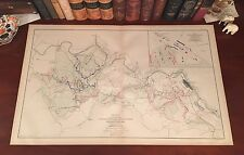 LARGE Original Antique Civil War Map CHANCELLORSVILLE Fredericksburg VA Virginia