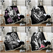 Cool Marilyn Monroe 3D Print Sherpa Blanket Sofa Couch Quilt Cover throw blanket