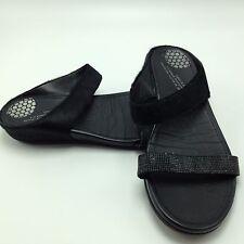 4B-7 fitflop sandals black flats flip-flops shoes black ankle strap women sz 6.5