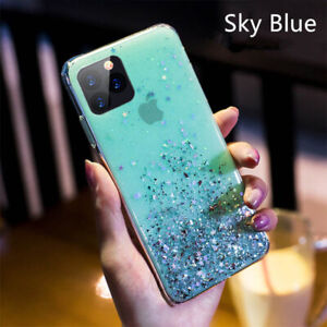 For iPhone 12 11 13 Pro Max 7 8 XS XR X Bling Glitter TPU Soft Clear Case Cover