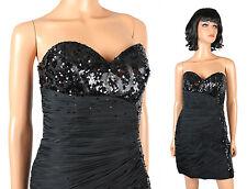 Mac Duggal Mini Dress Sz 8 M Black Strapless Sequin Short Cocktail Prom Gown