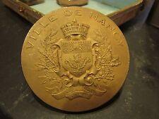 antigua medalla plata dorada 137gr 6.8cm ville de nancy en 1911 18