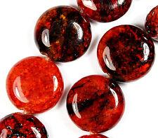 "14mm Rhodochrosite Gemstone Coin Loose Beads 15"""