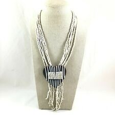 "Striped Heart Shell Pendant Seed Bead Tassel Necklace 19"" Long"