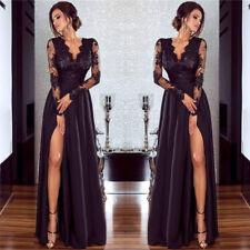 langes Spitze Langarm Abendkleid Cluewear Ballkleid Party Kleid Schwarz BC465