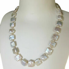 Nice 11-12mm Natural White Baroque Square Freshawater pearl necklace 46cm