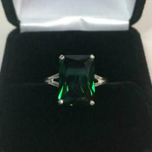 925 Sterling Silver Natural Certified 10Ct Emerald Octagon Shape Engagement Ring
