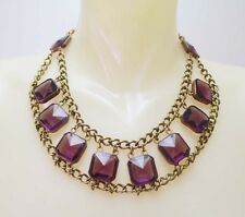VINTAGE DECO LARGE AMETHYST GLASS OPEN BACK NECKLACE JOSEFF STYLE RUSSIAN GOLD