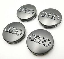 Set Of 4 236 Inch 60mm Car Rim Wheel Center Hub Caps Emblems For Audi Gray