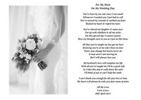 A4 Personalised Daughter/Bride to Mum, Mom, Mam to Verse/Poem Wedding Day Gift