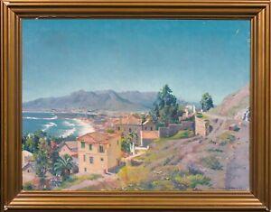 Large Early 20th Century Malaga Beach Coastal Landscape Karl WEISE (1890-1947)