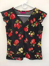 CHERRY Women's Black Red Mesh V Neck Ruffled Sleeveless Stretch Blouse Top S M