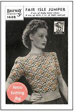 1940s Fair Isle Sweater Vintage Knitting Pattern Copy