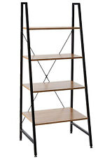 Offex Black Steel Frame Bookcase with Wooden Shelves