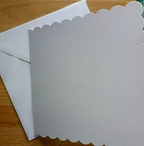 6 inch sq White/Ivory Scallop edge Blank Craft Cards with Env. Pre-Scored