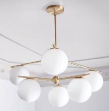 John Lewis & Partners Sphere + Stem 6 Light Chandelier, Milk / Brass - RRP: £499