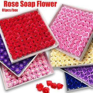 Box of 81Pcs Set Rose Bath Soap Flower Petal With Box For WeddingValentine GIFT,
