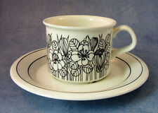 ARABIA OF FINLAND, Black Krokus, Vintage, Coffee Cup & Saucer, Excellent