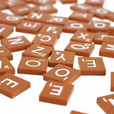 100 Wood Letter Tiles - Burnt Orange Color - 1 Complete Set - Crafts Game