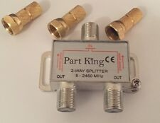Part King 2 Way Aerial Freeview Virgin Media TV Cable Splitter + Gold F Plugs