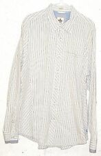 Express Casual Fit Mens Striped 100% Cotton Long Sleeve Button Down Shirt Large