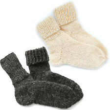 Natural Pure Sheep Wool Hand Made Knitted Socks Wellington Hiking Walking Boots