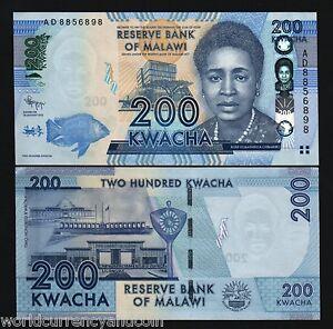 MALAWI 200 KWACHA P60 2012 FISH WOMAN PARLIAMENT FLAG UNC BUNDLE 10 PCS BANKNOTE