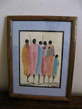Original signed water color framed art - African Maasai tribal art - by Ndambo